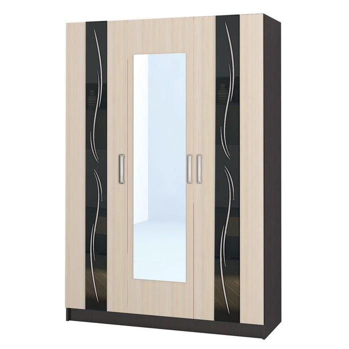 Шкаф 3-х створчатый Эрика 1500x550x2200 венге/дуб молочный