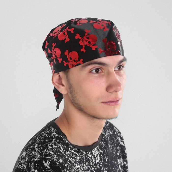 Бандана черная с красными черепами, р-р 50*50см