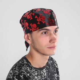 Black bandana with red skulls, p-p 57*75*57cm