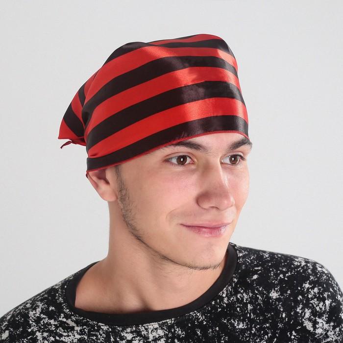 Бандана в черно-красную полоску   р-р 57*75*57см