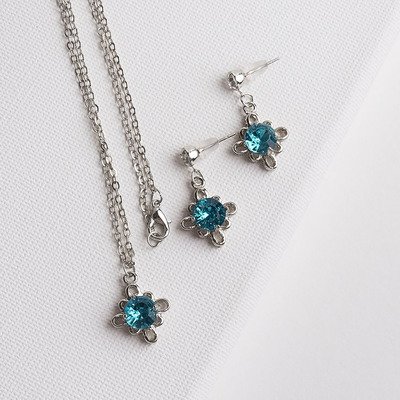 """Headsets 2 items: earrings, pendant """"Mirage"""" monogram, MIX color in silver, 43 cm"""