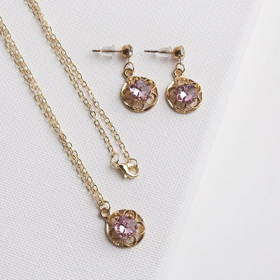"""Headsets 2 items: earrings, pendant """"Mirage"""" flower, MIX color gold, 43 cm"""