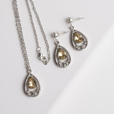 """Headsets 2 items: earrings, pendant """"Flicker"""" drops, MIX color in silver, 43 cm"""