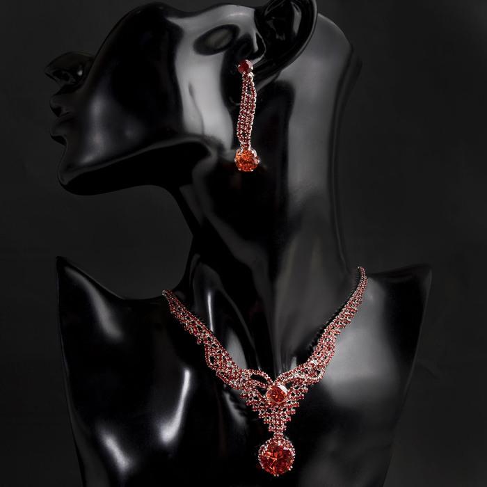 """Набор 2 предмета: серьги, колье """"Феникс"""" кружочки, цвет красный в серебре"""