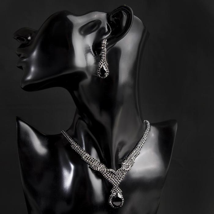 """Набор 2 предмета: серьги, колье """"Феникс"""" вуаль, цвет чёрный в серебре"""