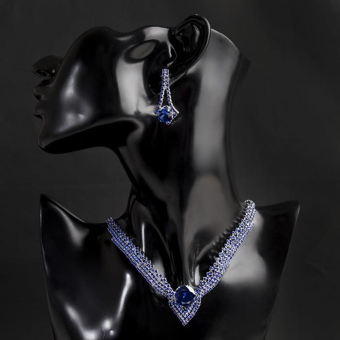 """Набор 2 предмета: серьги, колье """"Феникс"""" стрела, цвет синий в серебре"""