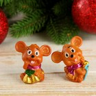 "Souvenir Polyresin ""mouse in a scarf with bells/the gift"" MIX 4,5x2,5x4,5 cm"