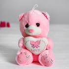 "Soft toy ""Bear with heart"" the color pink"