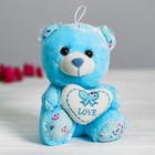 "Soft toy ""Bear with heart"" color blue"