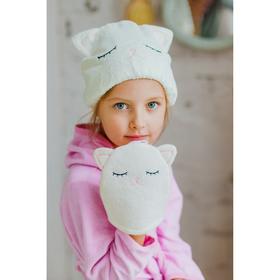 Шапочка для бани/сауны на резинке «Котик», микрофибра, цвет белый