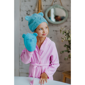 Шапочка для бани/сауны на резинке «Мишка», микрофибра, цвет голубой