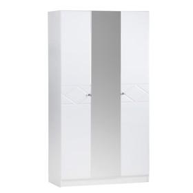 Шкаф 3х створчатый Ницца МДФ, Белый/Белый глянец