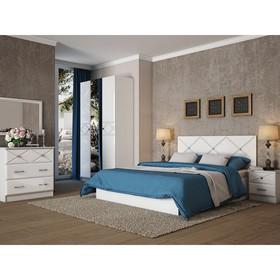 Кровать 1600 Ницца МДФ, Белый/Белый глянец