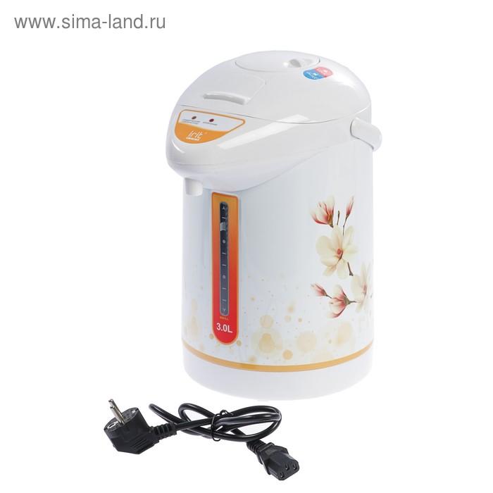 Термопот электрический Irit IR-1404, 750 Вт. 3 л, ЦВЕТЫ, белый/оранжевый