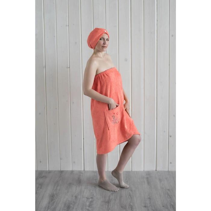 Набор женский для сауны (парео+чалма) с вышивкой, коралл