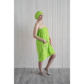 Набор женский для сауны (парео+чалма) с вышивкой, салатовый