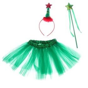 Карнавальный набор «Ёлочка», 3 предмета: ободок, жезл, юбка двухслойная, 3-5 лет