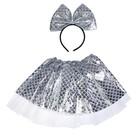 Карнавальный набор «Красотка», 2 предмета: ободок, юбка, 3-5 лет, цвет серебряный - фото 105446612