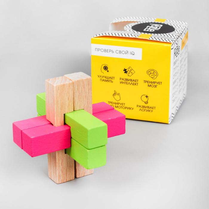 Головоломка деревянная сборная разноцветная 7,5х7,5х7,5 см - фото 1027090