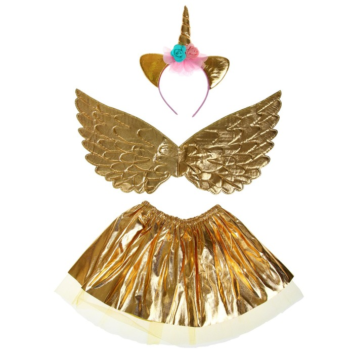 Карнавальный набор «Единорог», 3 предмета: ободок, крылья, юбка, цвет золотой - фото 455469