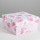 Коробка квадратная «Розовый фламинго», 16 × 16 × 8.5 см