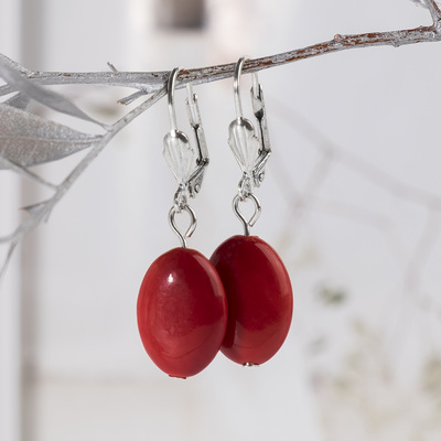 Earrings silver plated oval coral