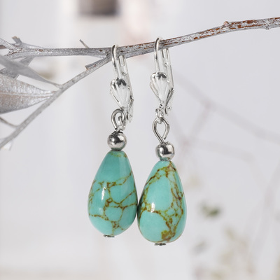 """Earrings silver plated drop """"old Turquoise"""""""