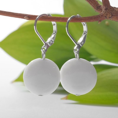 """Earrings silver plated cake """"white agate"""""""