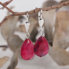 "Earrings silver plated drop flat ""pink agate"""