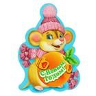 """Открытка-шильдик """"С Новым Годом!"""" символ года с апельсином, 5,5 х 8 см"""