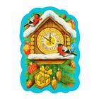 """Открытка-шильдик """"С Новым Годом!"""" часы с кукушкой, снегири, 5,5 х 8 см"""