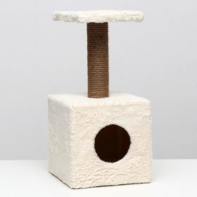 """Домик с когтеточкой """"Куб""""30 х 30 х 62 см, с подставкой, белая"""
