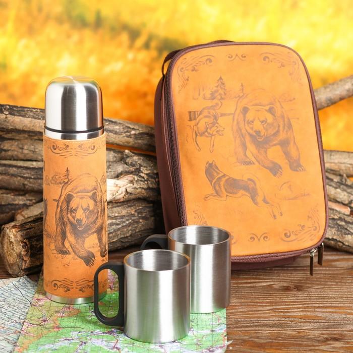 Набор «Медведь и собаки»: термос 500 мл, кружка 200 мл, 2 шт., время сохранения тепла 24 ч