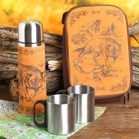 Набор «Волк»: термос 500 мл, кружка 200 мл, 2 шт., время сохранения тепла 24 ч