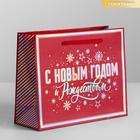 Пакет подарочный голография горизонтальный «С Новым Годом и Рождеством!», S 15 x 12 × 5,5 см   42057