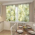 Фотошторы кухонные Белый бархат 145х160 см, 2шт, габардин, пэ 100%