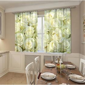 Фотошторы кухонные «Белый бархат», размер 145 х 160 см, 2шт., габардин