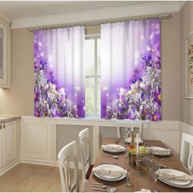 Фотошторы кухонные «Цветочное волшебство», размер 145 х 160 см, 2шт., габардин