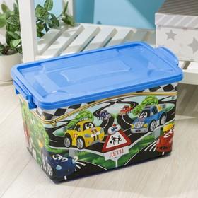 Контейнер для хранения с крышкой «Машинки», 35 л, 51×31×28 см, цвет тёмно-голубой