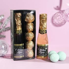 Подарочный набор «Российское шампанское» : гель для душа 250 мл, аромат шампанского, бурлящие шары 5 шт по 40 гр.