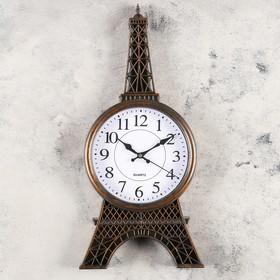"""Часы настенные, серия: Город, """"Риволи"""", бронза, 21х47 см, дискретный ход"""