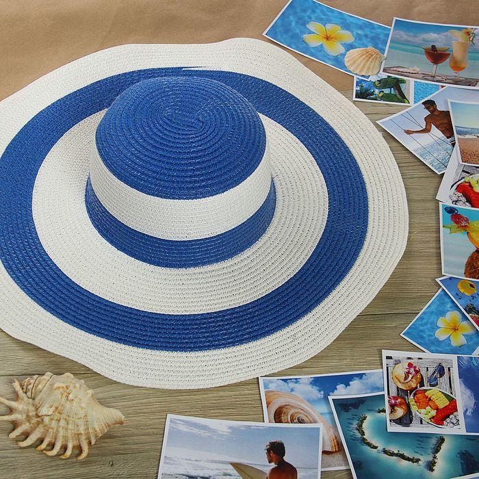"""Шляпа пляжная """"Лайма"""", цвет сине-белый, обхват головы 58 см, ширина полей 11 см"""