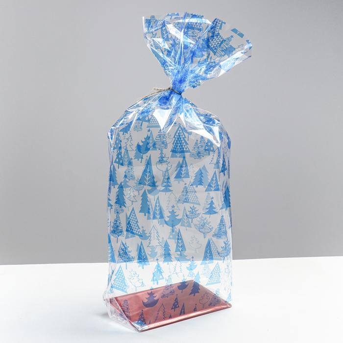 Пакет подарочный с жестким дном «Новогодние елочки», 14 х 14 х 50 см