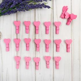 Set of decorative pegs Hearts pink set of 20 PCs