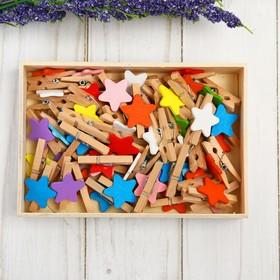 Набор прищепок в деревянной коробке «Звёздочки», набор 50 шт.