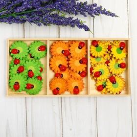 Набор декоративных наклеек «Божьи коровки на цветке» 3 цвета; 8,2×19×1,5 см