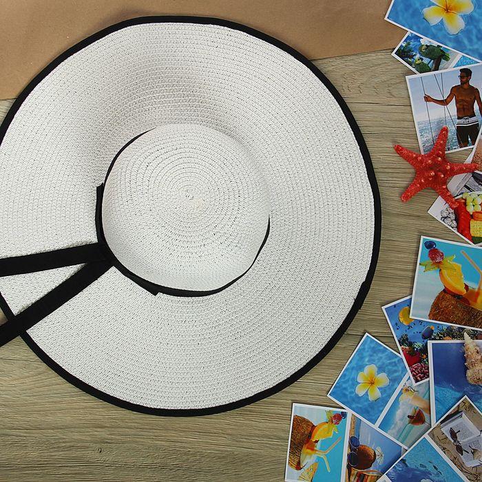 """Шляпа пляжная """"Юнона"""" с черным бантом, цвет белый, обхват головы 58 см, ширина полей 12 см"""