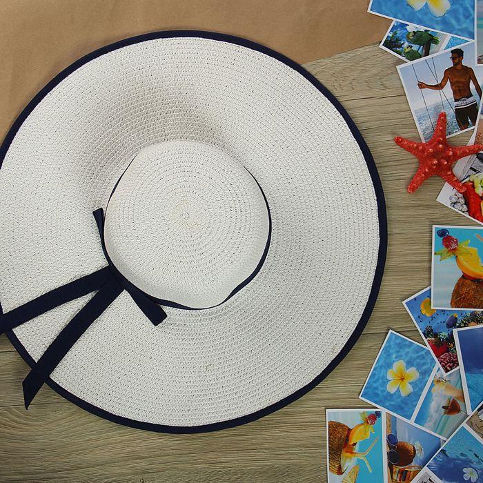 """Шляпа пляжная """"Юнона"""" с синим бантом, цвет сливочный, обхват головы 58 см, ширина полей 14 см"""