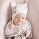 Шапка «Кошка» с завязками I love Milk, цвет молочный, размер 38-42