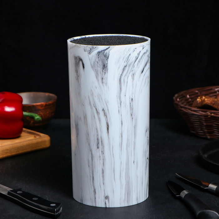 Подставка для ножей «Мрамор», 22×11 см, цвет белый
